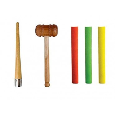 Arnav Wooden Mallet Hammer with 3 Bat Grip and One Cone Set and One Tennis Ball (Grip Color and Design May Vary)