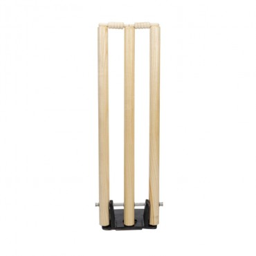 arnav Wooden Cricket Stumps Wicket with Spring Back and Heavy Solid Metal Base (Standard Size)