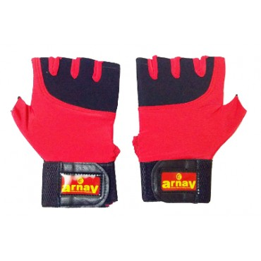 Arnav Unisex Sports and Gym Fitness Gloves Best Fashionable Colour and Design with Lacra Cloth for Fitness and Double Padded Both Side with Extra Long Strip Wrist Band or Wrist Support Red Colour