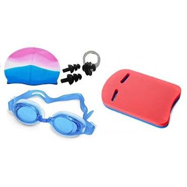 arnav Swimming Set of Goggles, Ear Plugs, Nose Plugs, Swimming Cap Silicone and Swim Kick Board Double Colour