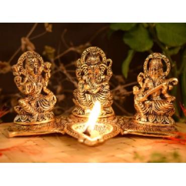 Laxmi Ganesha saraswati Sitting Diya Statue - Puja Diya- Lakshmi Ganesh Saraswati Showpiece Oil Lamp Diya Decoration