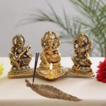 Home Decor & Gifts Laxmi Ganesh Saraswati Idol Decorative Platter with Diya and agarwati Stand