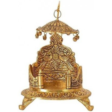 Handicraft Krishna Ladoo / Laddu Bal Gopal White Metal Sihasan ,Metal Singhasan , Ladoo Gopal Singhasan, Religious Puja Gifts and Decor , Showpiece Metal Home Temple (Height: 18 cm)