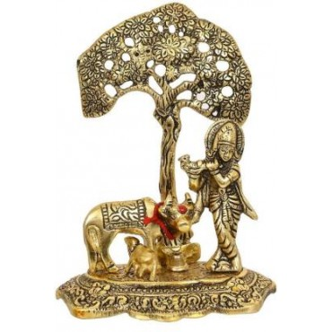 Pinkcity Xpress  Metal Krishna with Cow Standing Under Tree Playing Flute Decorative Showpiece Decorative Showpiece Decorative Showpiece - 17 cm  (Metal, Gold)