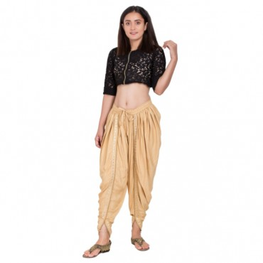 Beige color Dhoti Patiala with Embellished Border