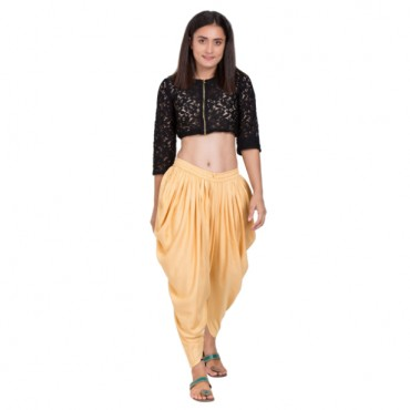Beige Color Solid Dhoti Patiala