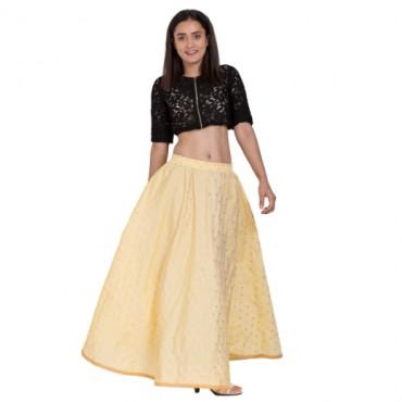 Beige Color Golden Zari Work Maxi Skirt