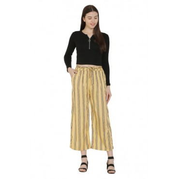Beige Color Rayon Fabric Stripped Palazzo