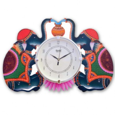 Duo Elephant Designer Wall Clock for Home / Office / Living Room (16 * 12 Inch)