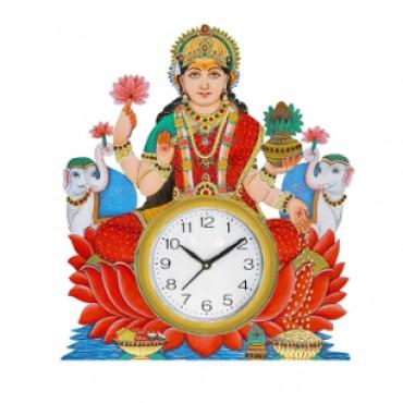 Designer Godess Laxmi Wall Clock for Living Room/Home/Office(Multicolour 14 * 16 Inch)