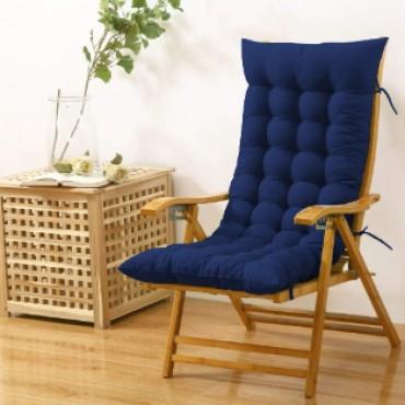 Cloudy Throne Microfiber Long Rocking Chair Cushion Pad - (51x19 Inches/Navy Blue)