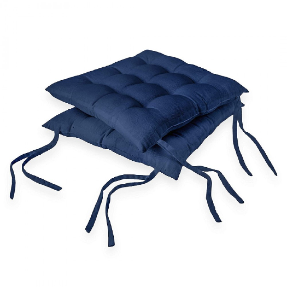 2 pcs Chair Pads 40x40 cm - Azul Blue - Dyed Canvas Square Seat Cushions with Thick Cotton Filler & Ties, Large Size for Sitting, Pooja, Dining Table, Outdoor, blue