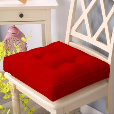 Chair Pad Cushion for Home Use and Multipurpose Use (Set of 1) (16 x 16 Inches (Box Cushion), Maroon)