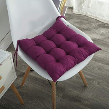 Microfibre Chair Pad Cushion Seat Pads Seat Cushion Indoor Outdoor Dining Home Office Garden Decor-15 x 15 Inches (Purple)