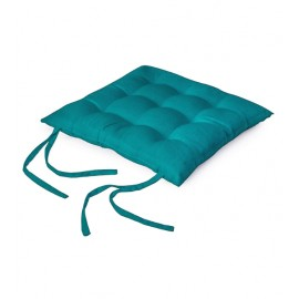 2 pcs Chair Pads 40x40 cm - Azul Blue - Dyed Canvas Square Seat Cushions with Thick Cotton Filler & Ties, Large Size for Sitting, Pooja, Dining Table, Outdoor, Azul Blue