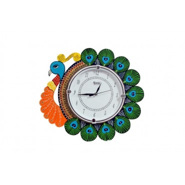 Rajasthani Handpainted peacock wall clock