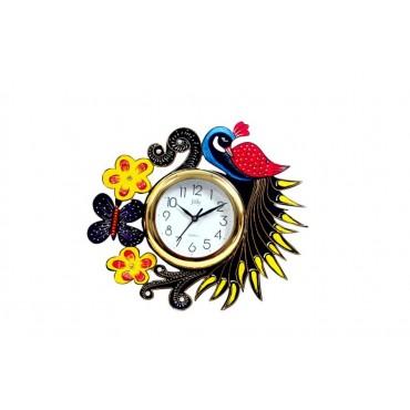 Handpainted peacock wall clock