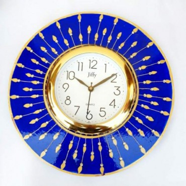 Blue round Handpainted wall clock