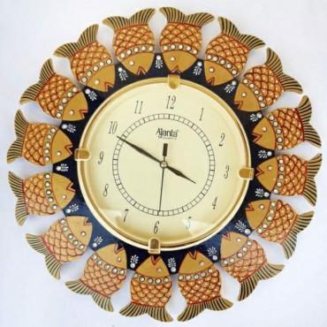 Golden fish Handpainted ajanta wall clock
