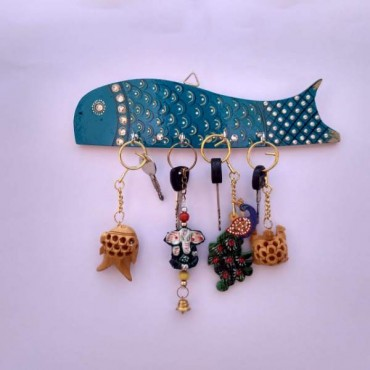 Blue Handpainted fish key hanger