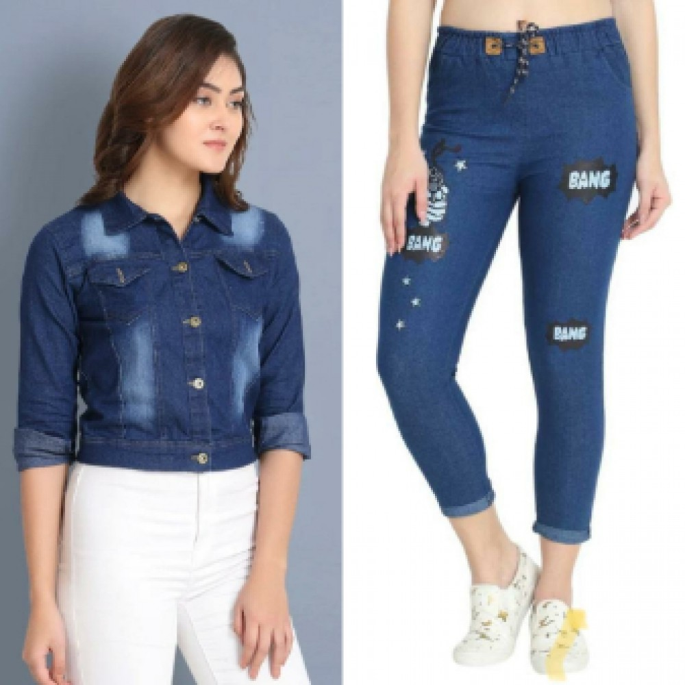 Denim Jackets with Denim jogger combo set for girls