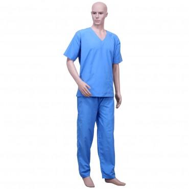 satyam sky blue resuable unisex scrub suit for surgeons, doctors, nurses hospitals, ot dress, sky blue