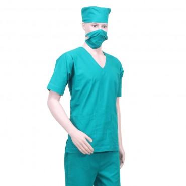 satyam green cotton resuable unisex scrub suit for surgeons, doctors, nurses hospitals, ot dress, green