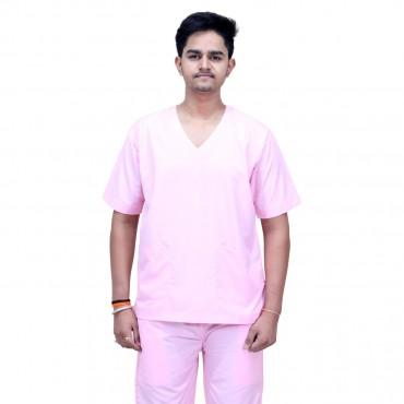 satyam pink resuable unisex scrub suit for surgeons, doctors, nurses hospitals, ot dress, sky blue