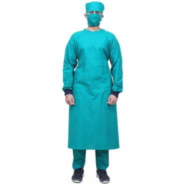 satyam green resuable unisex o.t. gown , surgeon gown for surgeons, doctors, nurses. o.t dress, o.t. gown with mast & cap . green colour