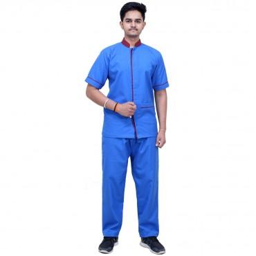satyam blue resuable male staff uniform shirt and trouser set
