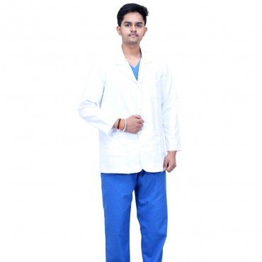 satyam white polyster cotton lab coat full sleeves for doctors & chemistry lab students