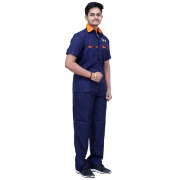 satyam -blue workers uniform contains pent and shirt with contrast design. suitable for workers, factory labor, hospital wardboys, sweepers, attendent staff.