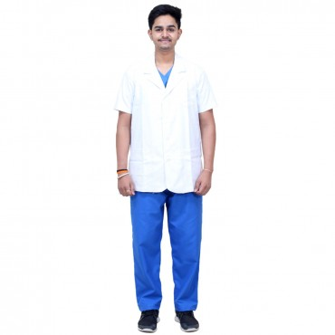 satyam white polyster cotton lab coat half sleeves for doctors & chemistry lab students