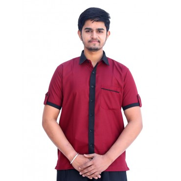 satyam dresses-mehroon black workers uniform set. attractive pattern and color combination. rich quality branded fabric and skilled stitching