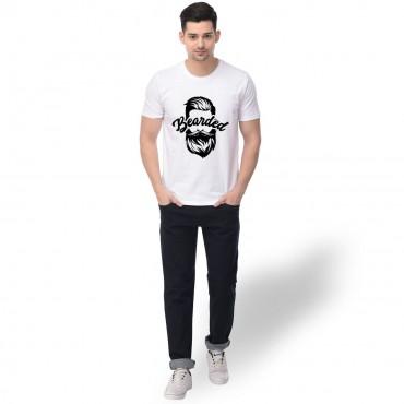 100% Cotton Graphic Printed Regular Fit T- shirt for Born Bearded Merchandise for True Fans-White
