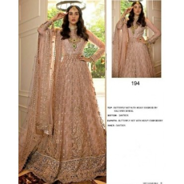 Butterfly net with heavy embroidery work and mirror work pakistani cream