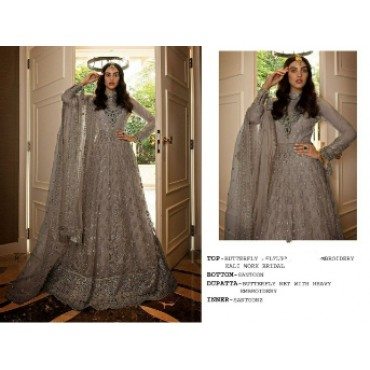 Butterfly net with heavy embroidery work and mirror work pakistani gown grey