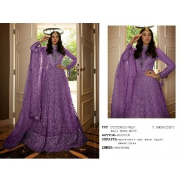 Butterfly net with heavy embroidery work and mirror work pakistani gown purple