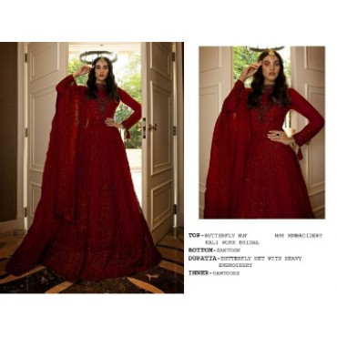 Butterfly net with heavy embroidery work and mirror work pakistani gown burgundy