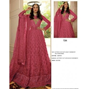 Butterfly net with heavy embroidery work and mirror work pakistani gown rose pink