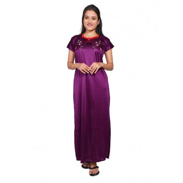 Women Satin Embroidery Gown