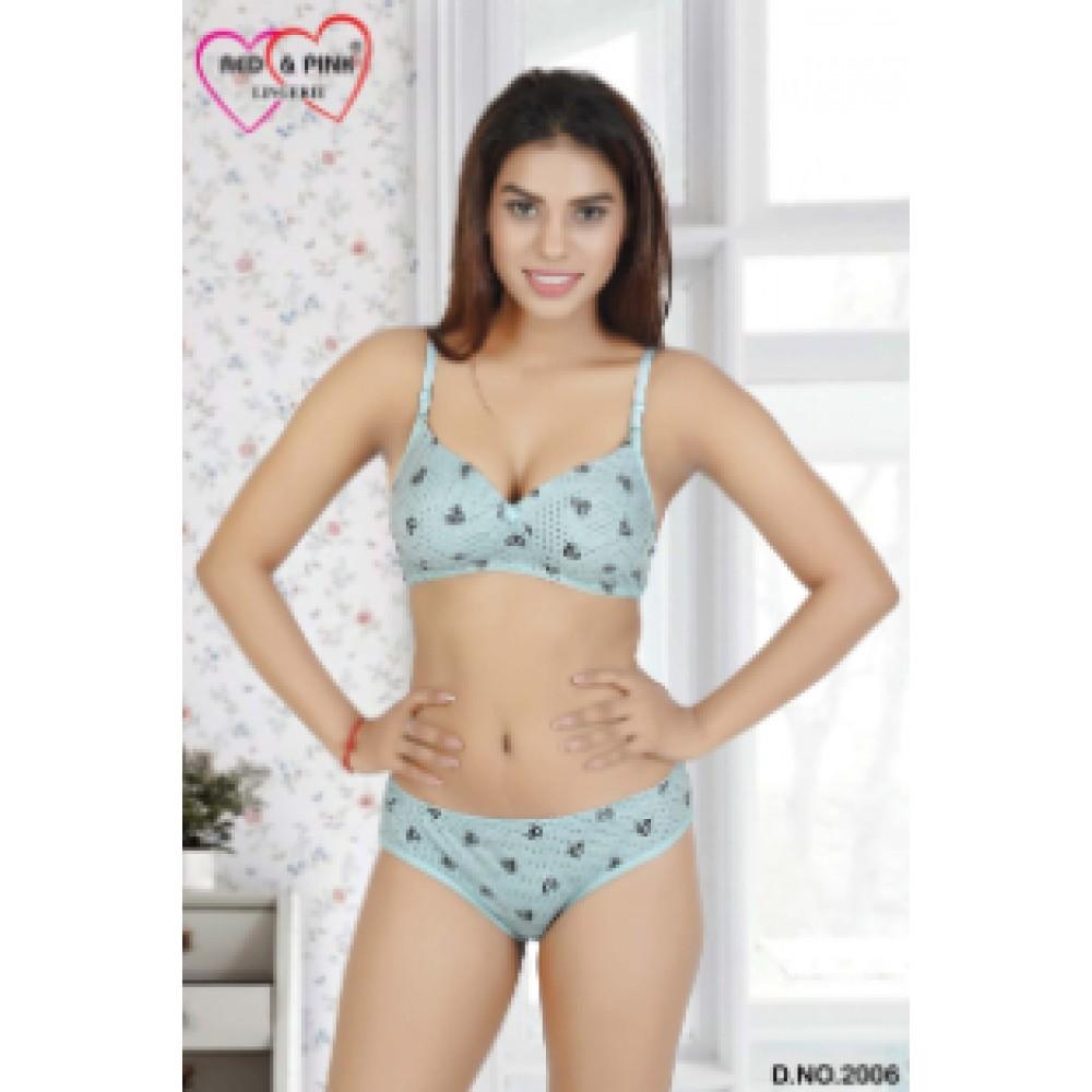 Cotton heart and polkadot printed padded Bra and panty set