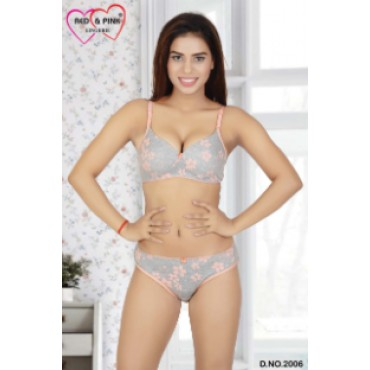 Cotton floral printed padded Bra and panty set