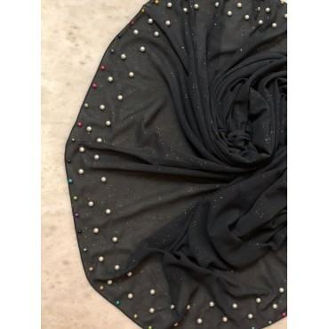 Chiffon glitter with all over pearls hijab