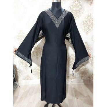 Daily wear abaya with sleeves and neck work (With stole)