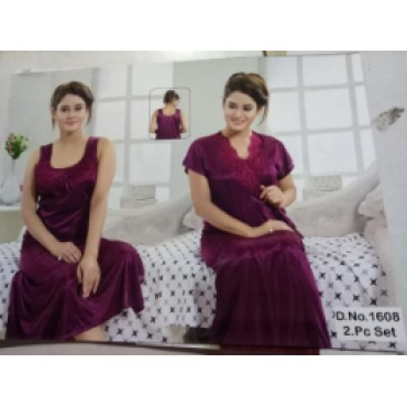 2 piece satin nightgown and night robe for women