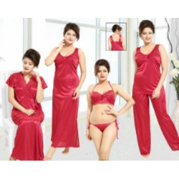 4 piece satin nightgown and night robe for women