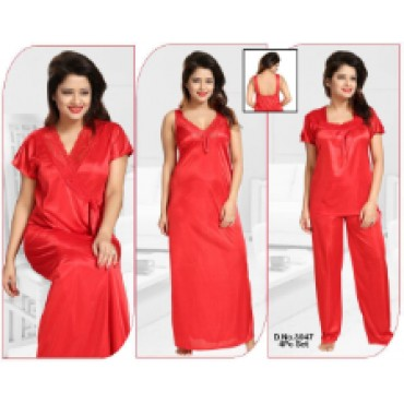 3 piece satin night suit for women(pyjama and top)