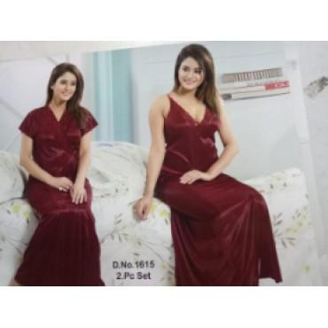 2 piece satin night suit for women(pyjama and top)