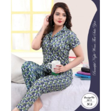 Beautiful satin printed night suit for women ( leaf pattern)
